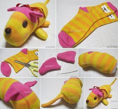 Sewing Stuffed Animals Cute stuffed animal made from socks - We've put together lots of Sock Animals that you are going to love to make. Check out all the free patterns and tutorials now. Sock Crafts, Fabric Crafts, Fun Crafts, Crafts For Kids, Sewing Toys, Sewing Crafts, Diy With Kids, Craft Projects, Sewing Projects