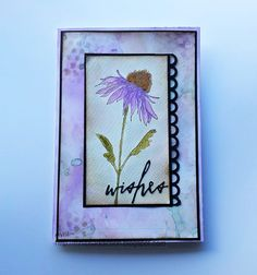 Mrs. B's Crafting Addiction: flower, from the Tim Holtz Flower Garden set was stamped onto water colour paper with black Archival ink and heat set with clear EP and coloured with Distress inks, I also used a very watery wash to shade the background. The base layer is wrinkle free distress, some watery splashes and stenciled dots