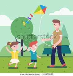 Father of brother playing with kids. Flying kite outdoors together with son and daughter. Smiling characters. Modern flat vector illustration clipart. - Shutterstock Premier