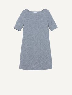 MAX&Co. - Tunic dress in Ottoman jersey lamé, Silver Pattern - Jersey dress with ottoman knit and lamé jacquard pattern. Straight, tunic silhouette. Slightly loose fit. Above-the-knee length. Rounded boat neck. Regular shoulders. Elbow-length sleeves. This garment is unlined. - Free Shipping and Returns