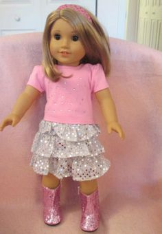 Doll Clothes for 18 Inch Girl Doll PW Sequin Skirt Set American Seller lsful