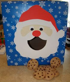 I was in charge of games at our family Christmas Party so I made a Santa bean bag toss. I covered a box with wrapping paper and found a pic. Christmas Fayre Ideas, School Christmas Party, Christmas Carnival, Noel Christmas, Winter Christmas, Family Christmas, Xmas Party, Santa Breakfast, Xmas Games