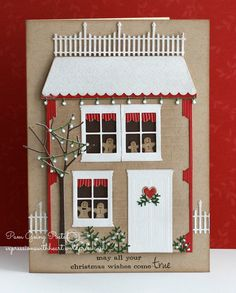 Holiday Goodie Border, A Batch of Gingerbread, Bare Sapling, Festive Lights, mini Scallop Border, poppystamps Madison House, poppystamps Country Fence and poppystamps small Garden Sprig