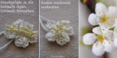 seidenfeins Dekoblog: gehäkelte Kirschblüten * DIY * crochet cherryblossoms Crochet Bouquet, Crochet Flowers, Dekoblog, Diy Crochet, Paper Flowers, Crafty, Max 2015, Cherry Blossoms, Leaves