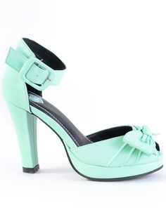 Currently obsessed with this color.  Pin-Up Girl Minty Bow Pumps   PLASTICLAND