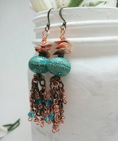 Teal lampwork beaded earrings - Dark Turquoise boho earrings - Blue-green boho Jewelry - Blue artisian glass earrings - Copper earring - pinned by pin4etsy.com