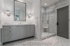 Silver Shadow Marble Bathroom Wall and Floor Application
