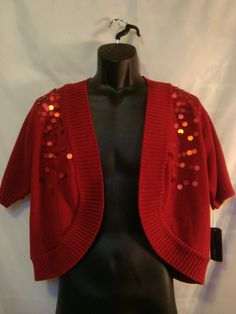 AGB Woman 3X Plus Size Red Cardigan w/ Paillette Accents - NWT - $17.99 with Free Shipping