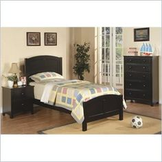 "Poundex 3 Piece Kids Twin Size Bedroom Set in Rich Black Finish - This twin bed collection is a 3-piece set laced in a rich black color for a contemporary style youth bedroom space.   Features: Set Includes: (1) Twin Size Panel Bed, (1) Nightstand and (1) Chest Rich Black finish Bed composed of Rubber Wood and MDF Casegoods composed of Pine, Pine Veneer, Particle Board, MDF and Plywood  Specifications: Bed Dimensions: Headboard: 49"" H Footboard: 22"" H Nightstand Dimensions: 24"" H x 22"" W x…"