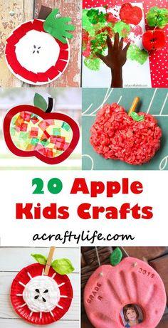 apple kids crafts -fall kid crafts crafts for kids- acraftylife.com #preschool #craftsforkids #kidscrafts