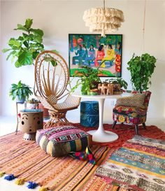 Boho Living Room Design and Decor Ideas Boho Chic Interior, Bohemian Bedroom Design, Bohemian Wall Decor, Bohemian House, Boho Room, Boho Living Room, Living Room Decor, Bedroom Decor, Interior Design