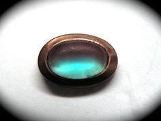 ANTIQUE BUTTON ~ OVAL PRECISION SAPHIRET GLASS SET IN BRASS $46.00