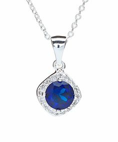 Loving this Blue Cubic Zirconia & Sterling Silver Pendant Necklace on #zulily! #zulilyfinds