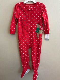 NEW Carter s Baby Christmas Sleeper Reindeer Holiday Fleece Red 6M 6 Months  190796094380  1fcb35fbe