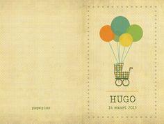 Geboortekaartje Hugo - dubbel kaartje - voorkant en achterkant - Pimpelpluis - https://www.facebook.com/pages/Pimpelpluis/188675421305550?ref=hl (# retro - koets - ballon - ballonnen - wieg - vintage - origineel)