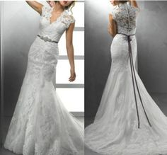 2014 New High Quality Sexy V-neck Lace Wedding Dress Cap Sleeve Mermaid Beach Wedding Gown White / Ivory Lace Bridal Dress NEW