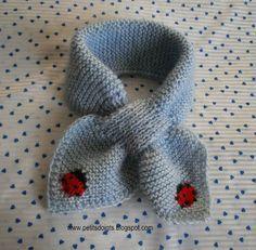 Une troisième écharpe feuille, mais cette fois-ci avec une coccinelle en jacquard mais elle peut être brodée une fois le tricot terminé et s...