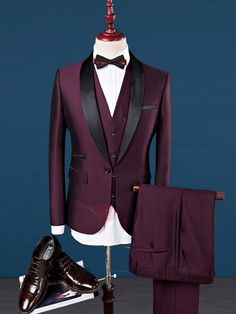 Slim Fit Wedding Suits For Men Shawl Collar 3 Pieces Burgundy Suit Mens Royal Blue Tuxedo Jacket Blue Tuxedo Jacket, Tuxedo Suit, Tuxedo For Men, Maroon Tuxedo, Mens Fashion Suits, Mens Suits, Womens Fashion, Fashion Trends, Tuxedo Wedding Suit