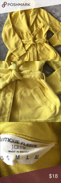 J. Crew Sweatshirt Cozy J. Crew sweatshirt. Tie front with pockets. Dress up or down. 3/4 sleeve. Is a medium but fitted like a small. Tops Sweatshirts & Hoodies