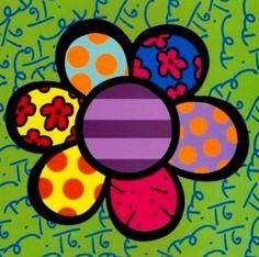 Flower pop-art by Romero Britto Pintura Graffiti, Graffiti Painting, Diy Painting, Graffiti Art, Art Floral, Famous Pop Art, Famous Artists, Modern Pop Art, Paintings Famous