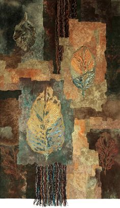 """""""Autumn Crossing"""" by Colorado Mixed Media Abstract Artist Carol Nelson This painting is Mixed Media on Canvas and is no longer available but commissions are welcome! Mixed Media Collage, Collage Art, Tea Bag Art, Quilt Modernen, Embroidery Leaf, Textile Fiber Art, Fiber Art Quilts, Landscape Quilts, Leaf Art"""