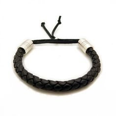 Braided Leather Bracelet with Heavy Sterling Silver