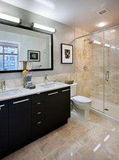 bathroom, dark cabinets, light countertops - Yahoo Image Search Results