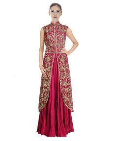 Crepe Machine Work Pink Semi Stitched Long Anarkali Suit - 81