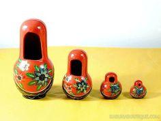 Cadre photo rouge gigogne Matriochka / poupées russes - Artisanat équitable.