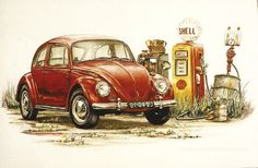 Litho 1966 beetle aut 21 01 1957 volkswagen beetle yellow 3 4 front view on pavement by house at dusk kimballstock Volkswagen Karmann Ghia, Volkswagen Bus, Karmann Ghia Cabrio, Bus Drawing, Beetle Drawing, Car Drawings, Drawing Art, Motos Vintage, Vw Vintage