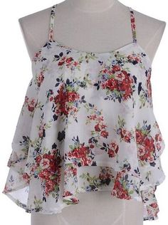 Anna-Kaci S/M Fit Multicoloured All Over Floral Print Layers Cross Straps Top Country Girls Outfits, Girl Outfits, Fashion Outfits, Womens Fashion, Fasion, Cute Tank Tops, Crop Tops, Thing 1, Floral Chiffon