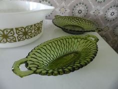 Vintage 1970s Indiana Glass Olive Green Avocado by MadGirlRetro