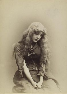 Beautiful Victorian stage actress Belle Archer looking heartbreakingly blue in this lovely photograph of her in her youth. #Victorian #19th_century #1800s #photograph #antique #vintage #woman #Belle_Archer #actress #stage