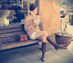 Free People Pullover, Urban Outfitters Skirt, Charles David Boots, Madewell Purse