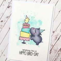 """66 Likes, 8 Comments - Ali (@alilovescardmaking) on Instagram: """"Watercolour inspiration (July) Happy Hippos #mftstamps #thescrapbookstore"""""""