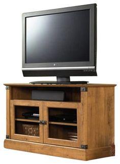 Sauder Registry Row Panel TV Stand in Amber Pine rustic-media-storage