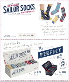 Sailor Socks. Made with bamboo. The best for your feet.