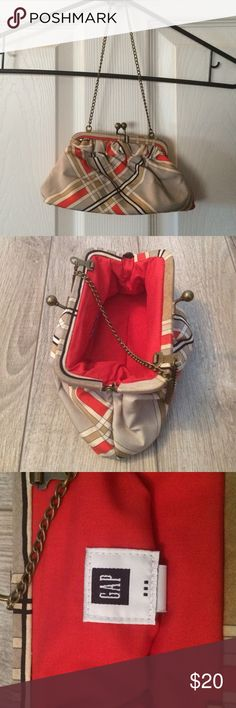 WEEKEND SALE! Small clutch purse / Bronze/orange Gap clutch purse in Orange cream tan grey and bronze color. Inside is red. GAP Bags Clutches & Wristlets