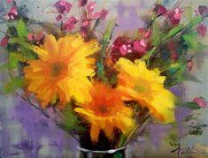 "Daily Paintworks - ""Daisy Glow, 10x8"" - Original Fine Art for Sale - © Ann Feldman"
