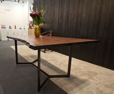 Live Edge Black Walnut Slab Table by RSTco. with blackened steel base and shou-sugi-ban charred live edge - designed by Cartwright NYC
