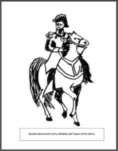 Davy Crockett coloring page Davy Crockett fights Mexican