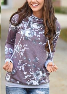 55dfc4d8d12 Hibluco Womens Casual Floral Printed Hoodie Pullover Sweatshirts with  Pockets Small K5   Learn more by