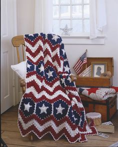 American Pride Afghans eBook - Freedom is a beautiful thing, and so are these crocheted salutes to Old Glory! Red, ecru, and blue worsted weight yarn imparts a look of instant history to six patriotic afghans. These special creations designed by Kay Meadors are sure to become beloved heirlooms.