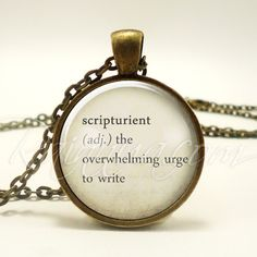 Scripturient Writers Word Necklace, Inspirational Quote Jewelry, Creative Author Pendant, Gift Idea (1973B1IN) by rainnua on Etsy