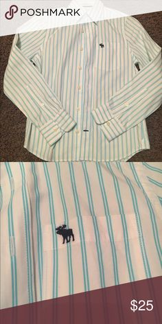 Abercrombie & Fitch Button down (kids) White collared button down with aqua stripes (see pic 2). In EUC. LOOKS NEW! This is a boys shirt Abercrombie & Fitch Shirts & Tops Button Down Shirts