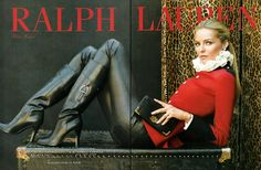 Ralph Lauren stunning black boots w/red.