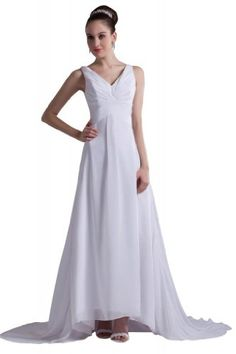 Also nice and simple, but it has a train...  GEORGE DESIGN Classic Strap V-Neck A-Line Chiffon Informal Beach Wedding Dress Size 4 White GEORGE BRIDE,http://www.amazon.com/dp/B00CCW6IVE/ref=cm_sw_r_pi_dp_1w4itb1ENJSM2MHD