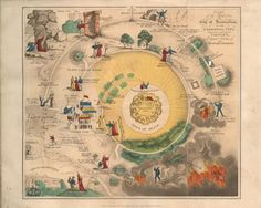 """Plan of the Road from the City of Destruction to the Celestial City"" from the 1833 edition of The Pilgrim's Progress.    In the galleries: This colorful map helps readers make their way through John Bunyan's ""The Pilgrim's Progress."""