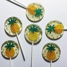 3 Forever Summer Glittered Pineapple Lollipops