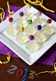"""17.) Serve champagne sans glasses by making <a href=""""http://www.ericasweettooth.com/2012/12/champagne-jello-shots.html"""" target=""""_blank"""">champagne Jell-O shots</a>."""